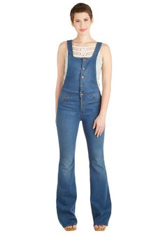 Top Down Cruisin' Overalls by Dittos - Overalls, Medium Wash, Full length, Blue, Festival, Denim, Blue, Solid, Vintage Inspired, 70s