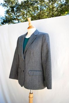 80s Vintage Gray Wool Blazer Pendelton Fitted by TheFuchsiaMoon