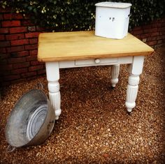 Victorian Pine Farmhouse Kitchen Table with Painted Legs and Cutlery Drawer