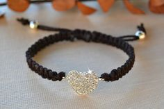 Items similar to Crystal Heart Friendship Bracelet/Valentines Day Jewelry on Etsy – Macrame Cute Jewelry, Diy Jewelry, Beaded Jewelry, Jewelery, Handmade Jewelry, Women Jewelry, Jewelry Making, Braided Bracelets, Cord Bracelets
