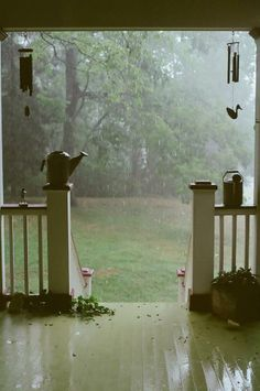 Gentle Rain On Country Porch