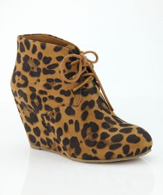 Tan Leopard Sally Wedge Bootie | zulily