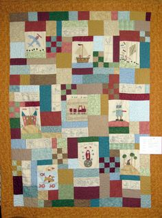 """Quilt Name: A Quilt for James Made By: Heather Bennett Pattern By: Anni Downes Hatched & Patched """"A Boys Story Quilt"""" Quilted By:"""