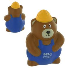 Construction Worker Bear Stress Reliever!  Construction worker bear shape stress reliever advertises your company with a cute twist. Makes a great giveaway! This is a fun way to promote your company while also helping everyone who receives one, squeeze away the stress of everyday life! $2.37 #corporate #tradeshow #giveaway #promotional