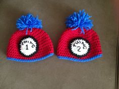 Thing one and Thing two crochet hats for newborns Great photo props