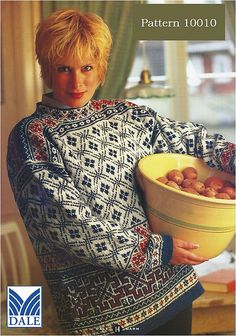 Thanks labetska_olga for this Pullover pattern by Dale Design.SUMMARY: This woman's, stand-up collar pullover features several pattern motifs. The lower body employs a repeating square motif somewhat like greek keys opened out and i# Dale Vintage Knitting, Hand Knitting, Knitting Stiches, Knitting Tutorials, Knit Stitches, Style Norvégien, Norwegian Knitting, Fair Isle Knitting Patterns, Knitwear Fashion