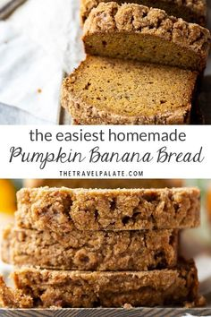 Easy and simple Pumpkin Banana Bread! Your family will love the quick bread because it so moist and homemade! Great combination of banana and pumpkin flavor! Pumpkin Banana Bread, Easy Banana Bread, Healthy Pumpkin Bread, Pumpkin Recipes Healthy Easy, Pumpkin Chocolate Chip Cookies, Pumpkin Pumpkin, Starbucks Pumpkin Bread, Homemade Banana Bread, Cheese Pumpkin