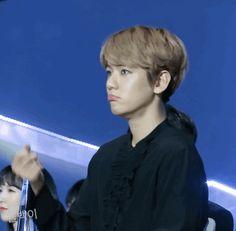 [#GIF] [14.01.17] [#BAEKHYUN]  Baekhyunee durante o GDA 2017. O biquinho e a manha que transpira dessa criança me deixa facinada. Baek é um bolinho tão precioso.   [Golden Disc Awards 2017 | Dia 2]  [~Moonanie] [Cr.: exoluwtely]