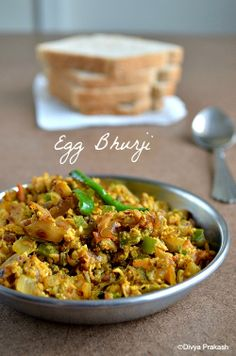 Egg Bhurji Indian style scrambled eggs easy to make and wonderful for breakfast lunch and even dinner Onion chiles tomato ginger turmeric chili powder cumin yum Veg Recipes, Curry Recipes, Brunch Recipes, Indian Food Recipes, Asian Recipes, Breakfast Recipes, Cooking Recipes, Breakfast Ideas, Indian Foods