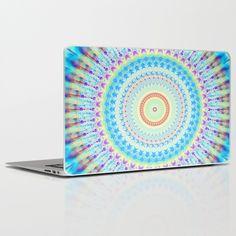 mandala waves Laptop & iPad Skin   #mandala #mandalart #modernmandala #pastel #pastelmandala #society6 #society6art #