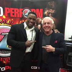 The Nature boy RIC FLAIR gets down with our CEO Javon Walker @formulation1 #ASF2015 Booth#1657 #natureboy #ricflair