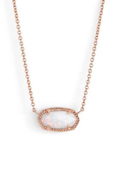 Absolutely in love with this rose gold and white opal necklace by Kendra Scott.