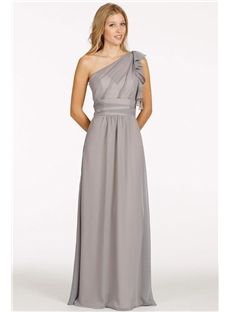 Simple One Shoulder Grey A-line Chifffon Bridesmaid Dresses For Juniors