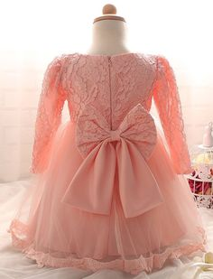 "The ""Reina"" Long Sleeve Pink Lace Dress Flower Girl Dress - Angora Boutique - 2"