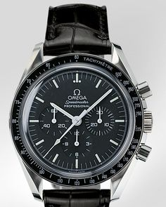 """OMEGA Watches: Speedmaster Professional """"Moonwatch"""" - Steel on leather strap - 3870.50.31"""