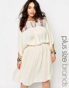- Plus Size Boho Folk Embroidered Yoke Skater Dress Cute Dress Outfits, Boho Outfits, Pretty Outfits, Cute Dresses, Beautiful Dresses, Casual Dresses, Fashion Outfits, Best Plus Size Dresses, Plus Size Gowns