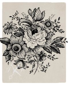 I love this design.. even for a tattoo! No79 Digital Download Vector Graphic of a Vintage by PaperKutMedia.