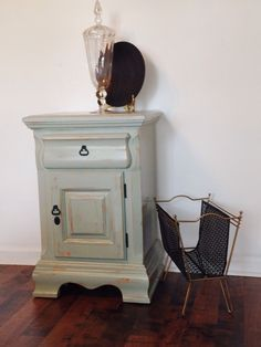 Night Stand- Painted and lightly distressed in pale Aqua- love painting hardware with gloss black spray! Easy too