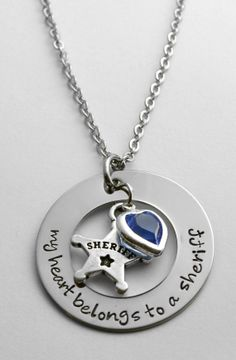 Sheriff Necklace - Sheriff's Wife gift - My Heart Belongs to a Sheriff - Wife of Sheriff