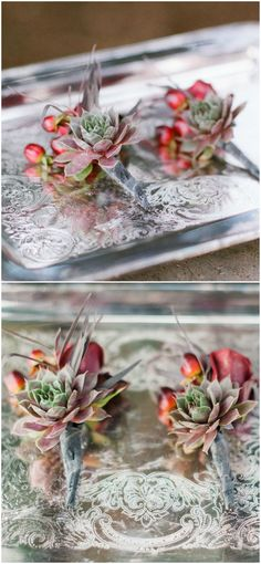 Red hypericum berries, succulents, boutonniere, fall wedding // Brittany Lauren Photography