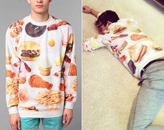 Kevin McHale lies on the ground, Los Angeles, March 3, 2013  Urban Outfitters Rook Fast Food Crew Sweatshirt