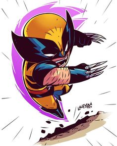 "7,145 curtidas, 14 comentários - Derek Laufman (@dereklaufman) no Instagram: ""Chibi Wolverine. Prints available at www.dereklaufman.com (link in my profile) #throwback…"""