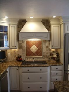 Painted Cabinets, Kitchen Cabinets, Full Overlay, Wood Hood, Decorative Hood,  Cabinet