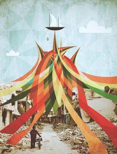 Internal Landscape-Syrian Destruction. Surreal Mixed Media Collage Art By Ayham…