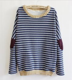 Leisure Retro Stripe Cloth Sleeve Women's Sweater on Luulla