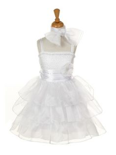 love! SKU: CC1108WT  prettyflowergirl.com  White 3 layer Organza Ruffle Sequin Bodice Girls Party Dress 2-14 in 6 colors