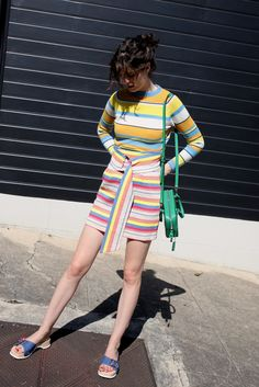 Sweater: by chill blogger skirt bag shoes tumblr mini skirt stripes striped skirt striped green bag