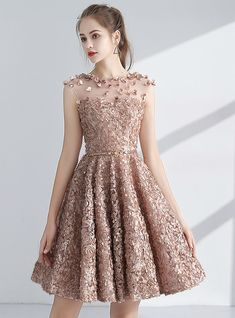 Chic / Beautiful Champagne Homecoming Graduation Dresses 2017 A-Line / Princess Scoop Neck Sleeveless Appliques Flower Metal Sash Short Pierced Formal Dresses - Homecoming Dresses Casual Summer Dresses, Dresses For Teens, Sexy Dresses, Short Dresses, Fashion Dresses, Formal Dresses, Mini Dresses, Elegant Dresses, Corset Dresses