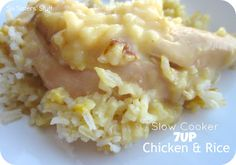 Slow Cooker 7UP Chicken & Rice  This meal has only 5 ingredients and can be thrown together in a matter of minutes!  The 7UP (or Sprite) makes the chicken so moist with a hint of sweetness!