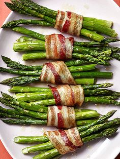 Add satisfying salty and rich flavors to roasted asparagus by wrapping bundles of the vegetables in slices of bacon.