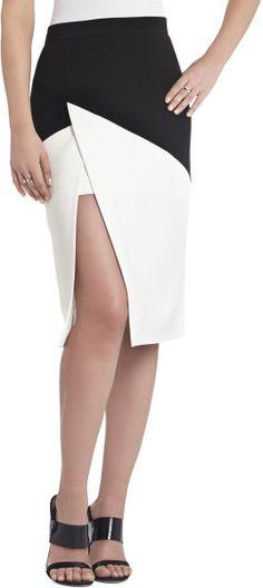 Bcbgmaxazria Jowell Color-Blocked Pencil Skirt in Black (BLACK OFF WHITE)