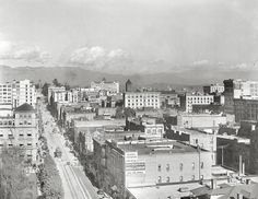 Los Angeles, California, 1913. Panoramic view of Los Angeles, looking north from a building on the corner of Hill Street from 6th Street.