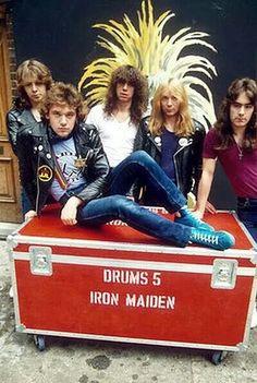 Iron Maiden with original vocalist Paul DiAnno and original guitarist Dennis Stratton