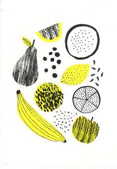 Stylised fruit by printmaker and illustrator Abbey Withington - - Stylised fruit by printmaker and illustrator Abbey Withington Illustration Stylised fruit by printmaker and illustrator Abbey Withington Gravure Illustration, Fruit Illustration, Pattern Illustration, Food Illustrations, Graphic Illustration, The Design Files, Web Design, Fruit Pattern, Grafik Design