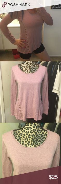 💕Like new Lucky Brand sweater💕 Super cute like new Lucky Brand sweater has lace super cute lightweight purple and white color size extra small but can fit small also cotton and cashmere Lucky Brand Sweaters