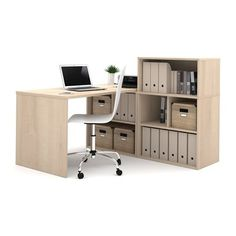 Bestar 150875 i3 by Bestar Solid End Return/Open Storage with Small Open Hutch L-Shaped Desk