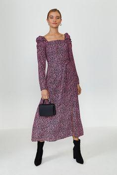 Square Neck Long Sleeve Midi Dress Long Sleeve Midi Dress, Event Dresses, Coast, Cold Shoulder Dress, Dress Ideas, Casual, Swimwear, Shopping