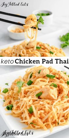 Keto Chicken Pad Thai - Gluten Free Low Carb Dairy Free Grain Free THM S - Chicken Pad Thai has all the flavors of the traditional rice noodle dish but with just a fraction of the carbs! A super easy meal for 4 and ready in just 30 minutes! #lowcarb #lowcarbrecipes #lowcarbdiet #keto #ketorecipes #ketodiet #thm #trimhealthymama #glutenfree #grainfree #glutenfreerecipes #recipes Dairy Free Snacks, Dairy Free Breakfasts, Dairy Free Diet, Dairy Free Recipes Easy, Dairy Free Low Carb, Lactose Free Keto, Dairy Free Dinners, Healthy Recipes, Ketogenic Recipes