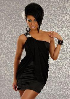 Robe de soiree asymetrique et bustier courte avec strass et voiles en noir  par UnCadeauUnSourire.com
