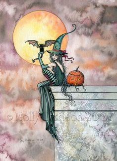 Witch Tabby Cats Autumn Fine Art Print by Molly Harrison 'Batty Cat' 9 x 12 Giclee - Wiccan, Wicca, Halloween, Artwork, Illustration Fantasy Witch, Witch Art, Fantasy Art, Vintage Halloween, Fall Halloween, Halloween Crafts, Halloween Witches, Vintage Witch, Halloween Stickers