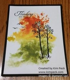 The background for this card was stamped with the splatter stamp from the Gorgeous Grunge Set. I used Tangerine Tango, Crushed Curry and Old Olive for the background. The Trees came from the In the Meadow Stamp Set.