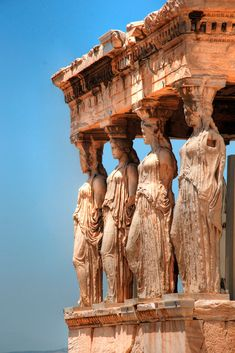 The most celebrated example is the Caryatid Porch - of the Erechtheum w six figures (420 - 415 bc) on the Acopolis in Athens, Greece