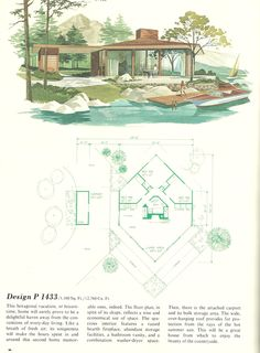 house Vintage Vacation Homes, Mid century vacation homes, vacation house plans Vintage House Plans, Modern House Plans, Vintage Homes, The Plan, How To Plan, Architecture Plan, Architecture Symbols, Residential Architecture, Mid Century House