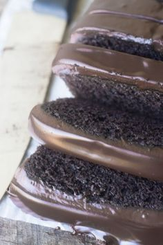 Everyone should have a rich Chocolate Pound Cake in their recipe file preferably right up front --- this dark chocolate loaf cake is topped with a creamy chocolate ganache. Chocolate Loaf Cake, Dark Chocolate Cakes, Decadent Chocolate, Chocolate Desserts, Chocolate Ganache Frosting, German Chocolate, Chocolate Lovers, Just Desserts, Dessert Recipes