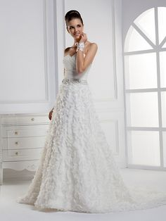 Elegant Sleeveless with Natural waist wedding dress