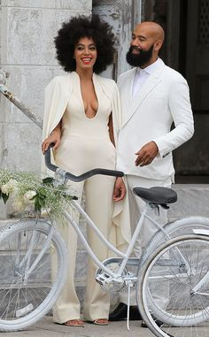 No wedding dress here! Solange looked flawless in a low-cut jumpsuit on her big day.